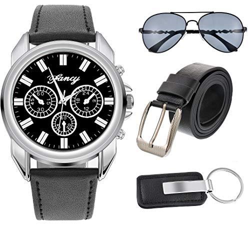 MJARTORIA Geschenke für Männer Freund Herren Armbanduhr Sonnenbrille Auto Schlüsselanhänger Ledergürtel Set mit Box -