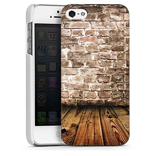 Apple iPhone 4 Housse Étui Silicone Coque Protection Brique Mur Sol en bois CasDur blanc