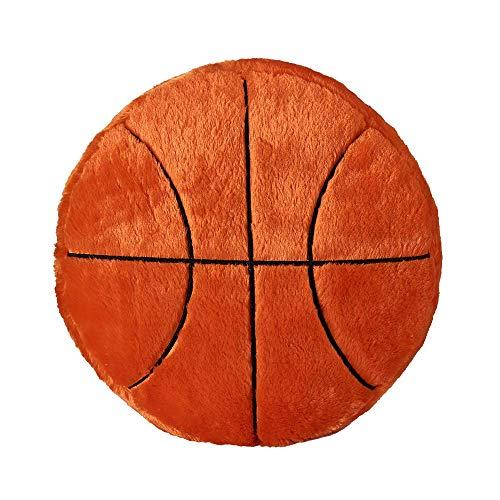 ZYEZI Plüsch Kissen Sport Thema Gefüllte Kissen Runde Form Weiche Rückenkissen Sport Spielzeug Geschenk für Kinder Home Office Sofa Decor (Basketball) - Plüsch-top-matratze