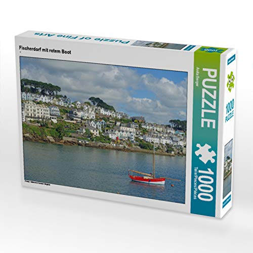 CALVENDO Puzzle Fischerdorf mit rotem Boot 1000 Teile Lege-Größe 64 x 48 cm Foto-Puzzle Bild von Berger Anita
