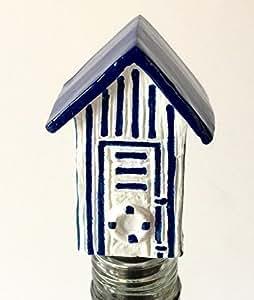 Beach Hut Wine Saver / Bottle Stopper / Novelty Cake Decoration + Gift Box