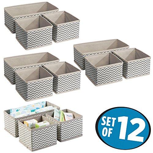 mDesign Juego de 12 cajas organizadoras para el cuarto de los niños - Organizadores para armarios para artículos de bebé - Caja para organizar juguetes, pañales o medicinas - Topo/natural