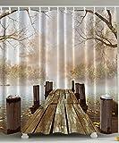 Cortina de Baño Puente Impermeable Resistente Impresión Digital Cortina de Ducha de Puente de Madera, aros de acero inoxidable 180 x 180 cm, + 12 Ganchos di Cloud-Castle