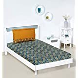 Amazon Brand - Solimo Ditsy Dale 144 TC 100% Cotton Single Bedsheet with 1 Pillow Covers, Blue