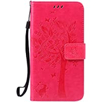 """Funda Huawei G7 Plus / G8 / GX8 (5.5"""") Case , Ecoway Patrón de mariposa de gato en relieve PU Leather Cuero Suave Cover Con Flip Case TPU Gel Silicona,Cierre Magnético,Función de Soporte,Billetera con Tapa para Tarjetas ,Carcasa Para Huawei G7 Plus / G8 / GX8 (5.5"""") - Rose Red"""