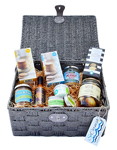 Savoury Cornish Hamper. Furniss Cornish Sea Salt Oat Biscuits - Simply Cornish Cheddar Cheese and Seaweed Flakes Savoury Snacks - Whole Organic Peanut Butter - Cornish Sea Salt Flakes - Cornish Chilli Sauce - Cheddar Biscuits - Sarah and Finn�s Artisan Re