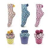 Leapop 1 oder 3 Paare Damen Mädchen Socken Cupcakes Design Flauschig Gemütliche Weiche Dicke Warme Weihnachtssocken mit Geschenkbox, 3 Paare (Dunkelblau+gelb+pink), Einheitsgröße