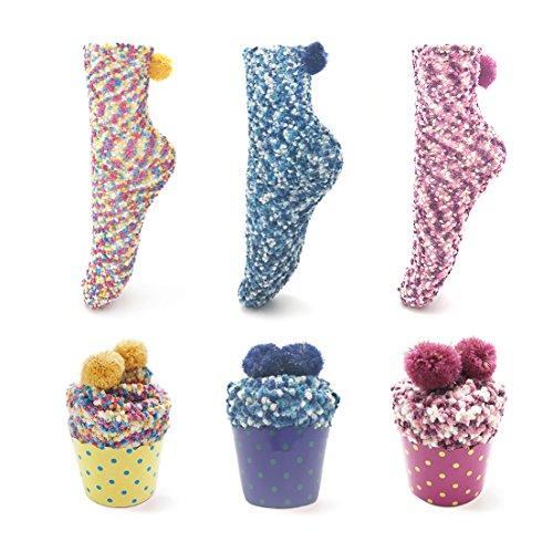 SAMGOO 1 oder 3 Paar Cupcakes Design Mädchen Damen Socken Weihnachtssocken Flauschig Innenfell Festlicher Spaß Neuheit Weihnachtsgeschenk Geschenkbox (3 paar(Navy blau+gelb+Rose rot))