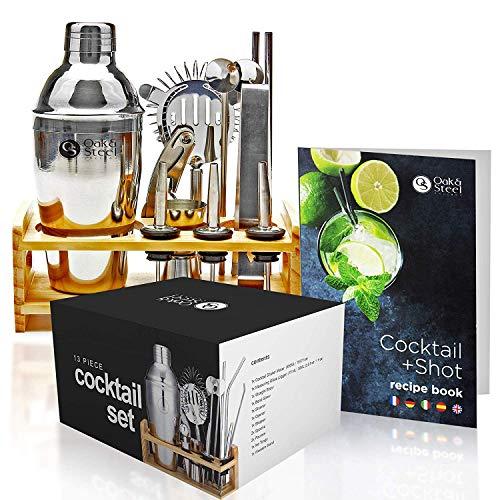 13 Set da Cocktail Professionale - Acciaio Inox Premium -Senza Ruggine, Senza Perdite - Boston Cocktail Shaker Kit con Espositore in Legno e Libro di Ricette  Barman Kit in Elegante Confezione Regalo