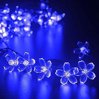 lederTEK alimentata solare fiore fatato luce laccio 7M 50 LED impermeabile Fiorire Natale lampada decorativa per scoperta, giardino, casa, Matrimonio, Natale Albero Partito di Capodanno (50 LED Blu)