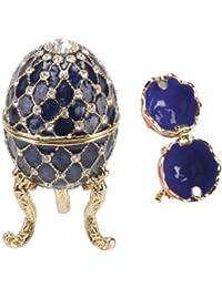 Royal Blue Ornate Egg Treasured Trinkets Keepsake Box Juliana 15050
