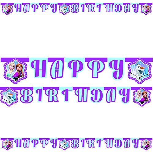 2m Happy Birthday-Partykette * FROZEN NORTHERN LIGHTS * von Disney für Kindergeburtstag oder Motto-Party // Party Deko Girlande Banner Wimpelkette Motto Frozen Anna Elsa Olaf Prinzessin