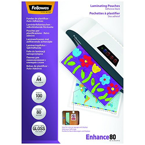 Fellowes 53022 Peel und Stick Laminierfolien Enhance 80 Mikron, DIN A4 (100er Pack)