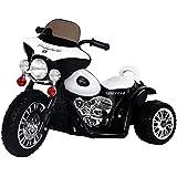 HOMCOM Moto Véhicule Electrique pour Enfant 6V 2.5km/h Musique Lumière 80 x 43 x 55cm Noir