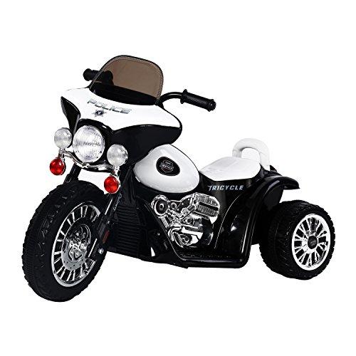 Homcom Moto Electrica Tipo Coche o Triciclo para Niños de +3 años, 6V, Metal + PP, Negro o Blanco 80x43x54,5cm