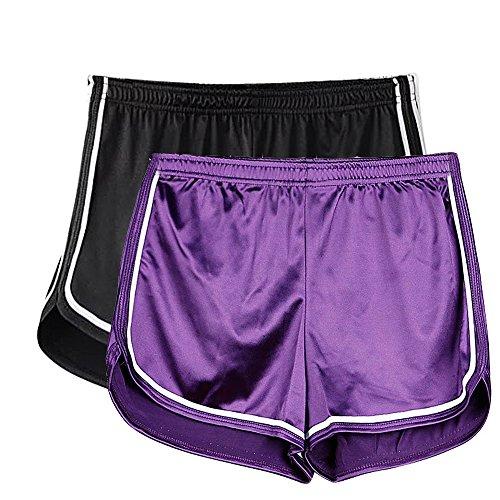 2 Stück Satin-bikini (Mangotree Damen Sport Shorts Glänzende Metallische Hosen Yoga Hot Shorts Aktive Lounge Shorts Tanz Shorts mit Farbigen Kanten (M, 2 Stück(Schwarz+Lila)))