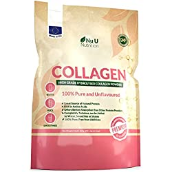 Collagen Powder 600g | Protein High Grade Unflavoured Hydrolysed Collagen Peptides | Made in The EU from Pure Bovine 100% Collagen Hydrolysate in Resealable Pouch by Nu U Nutrition