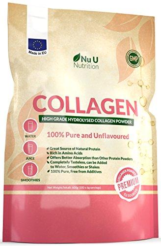 Kollagen Protein Pulver 600g Hochwertiges, geschmacksneutrales Kollagen Hydrolysat aus reinem 100{1fcf96a327165445b3a4e5048e567f196c412235793cd7ebbb81ae0d6c227f45} Rinderkollagen Hydrolysat in einer wiederverschließbaren Packung von Nu U Nutrition