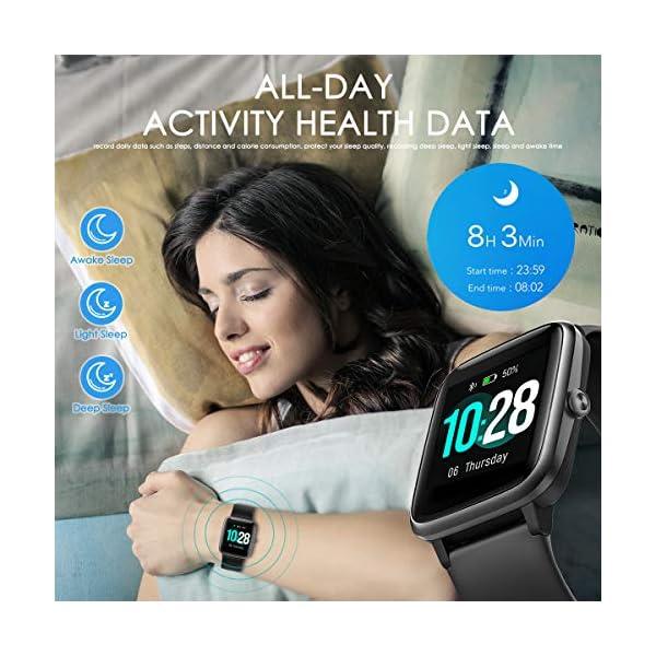 HOMVILLA Smartwatch Fitness Tracker Reloj Inteligente Impermeable IP68 Fitness con Monitor de Ritmo Cardíaco Podómetro Monitor de Sueño Cronómetro Temporizador para Hombres Mujeres iPhone Android rosado 6