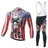 Baymate Unisex Fahrrad Jersey Radfahren Set Outdoor Sport Bike Langarm Jacke Fahrrad Shirt + Lange Trägerhose Wie Das Bild XXL