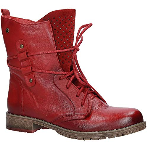 Maciejka Damen Stiefeletten Boots Echtleder | Elegant Winterschuhe | Rot | EUR 41