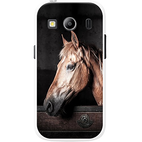 Fancy A Snuggle Custodia Rigida per telefoni cellulari, Cavallo Marrone Elegante, plastica, Brown Horse in Stable, Samsung Galaxy Ace 4