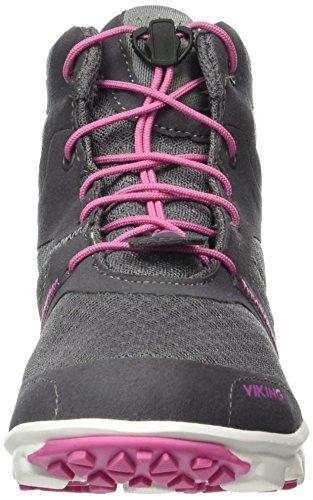 Viking Maverick Mid, Baskets Basses Mixte Enfant Gris - Grau (Dark Grey/Pink 9109)