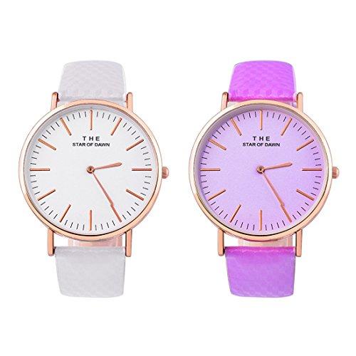 Souarts Damen Armbanduhr Farbwechsel Uhr unter UV von weiß bis Blau oder Lila oder Rosa Einfach Stil Analoge Quarz Uhr mit Batterie Charm Zubehör (Weiß-Lila)