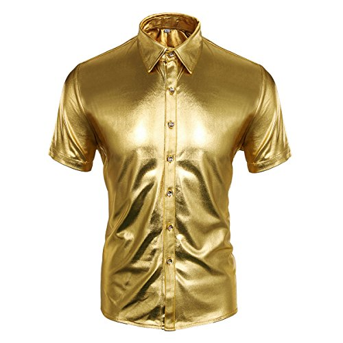 Cusfull Herren Hemd Metallic Glänzend Kurzarmshirt Glitzer Schlank Fit Kostüm für Nightclub Party Tanzen Disco Halloween Cosplay (XL, Gold) (Shirt Disco Polyester)