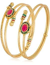 The Luxor Gold Plated Traditional Meenakari Stone Studded Designer Bangles Set For Women And Girls-BG-2169