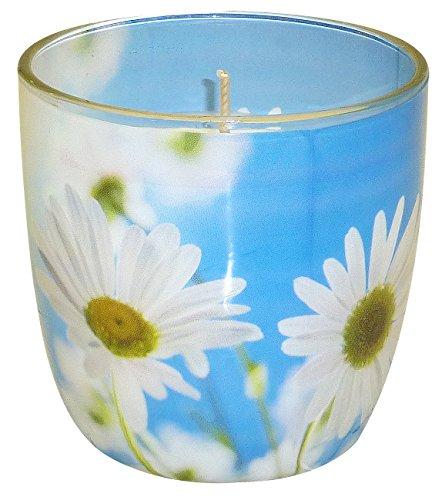 """Duftkerze im Glas mit Fotomotiv """"Margariten"""" Duft Blütentraum"""
