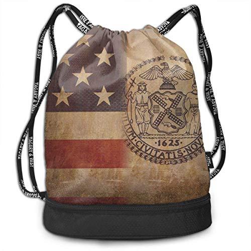 USA New York City Flag Multipurpose Drawstring Backpack Bag Bundle Pocket Daypack Gym Bag for Gym Travel