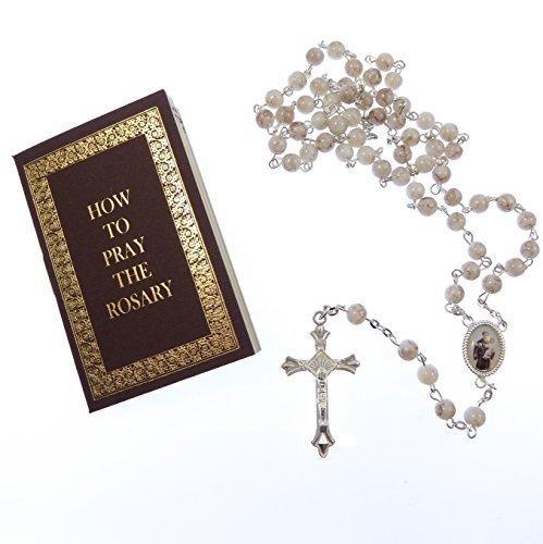 Weiß Marmor EFFECT Glas St.Anthony Rosary Perlen mit Geschenkverpackung Rosary Buch