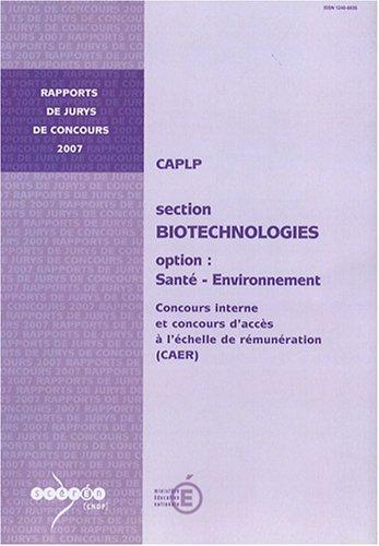 CAPLP interne et CAER Biotechnologies option Santé-Environnement