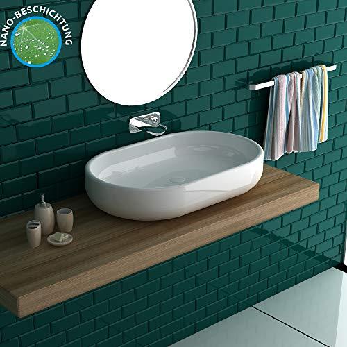 Alpenberger Ovales Aufsatzwaschbecken aus hochwertigem Keramik 600x380 mm | Schlichtes Design | Handwaschtisch für kleine Bäder, Gäste-WCs oder Ihr Wohnmobil | Einfache Installation