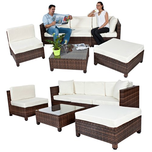 tectake hochwertige aluminium luxus rattanlounge mit 2 bezugssets gartenmoebel set. Black Bedroom Furniture Sets. Home Design Ideas