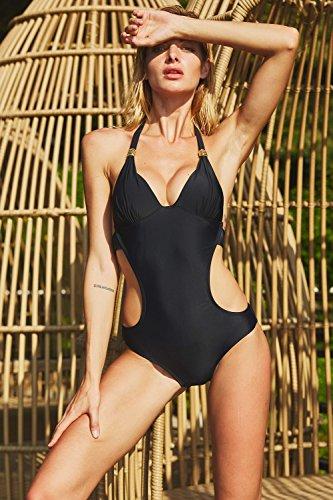 CharmLeaks Damen Neckholder Monokini Rückenfrei Cut Out Push-up Bikini Elegant Badeanzug Schwarz