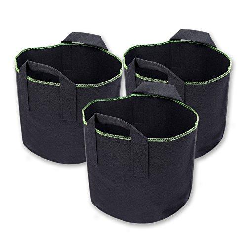 Schramm® 3 Stück 15 Liter Pflanzsäcke aus Vliesstoff Pflanzsack Garten Sack aus Fliesstoff zum Bepflanzen 3 Stück Pflanzgefäß Pflanzbehälter Pflanzbeutel 3er Pack