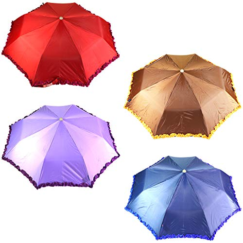 Mohendra Dutt & Sons 3 Fold Stylish Dual Color Frill Umbrella - Assorted Color Pack of 1