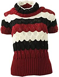 Frauen Blase Knit Plain Gold Striped Loser Rollkragen Pullover Damen