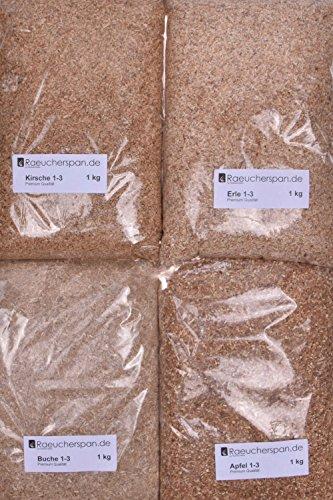 Räuchermehl Räucherspäne Apfel, Kirsche, Erle, Buche mittelfeine Körnung Feinschmeckerpaket