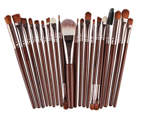 Saingace 20 pcs Pinceaux de Maquillage Brosse Fard à Paupières Eyeliner Brosse Sourcils Brosses à Mascara Joue Ensembles de Brosses/Café
