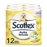 Scottex Pulito Delicato Carta Igienica, Confezione da 12 Rotoli Maxi