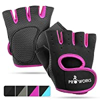 Proworks Ladies Fingerless Gym Gloves | Padded Weight Lifting Gloves for Women - Ideal as Cycling Gloves or for Lifting, Training, CrossFit, Rowing, Yoga & More - Black & Pink - Small
