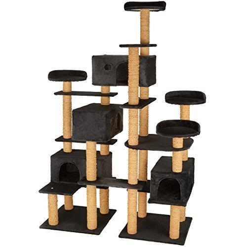 TecTake 800551 XXL Katzen Kratzbaum | Stämme komplett mit Kokosseil umwickelt | 214cm hoch - Diverse Farben (Schwarz | Nr. 402810)