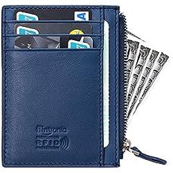flintronic ® Tarjetas de Crédito Slim Moda RFID Bloqueo Monedero de Cuero, Mini Billetera para Cartera ID,Tarjetero Crédito Licencia de Conducir Cartera Hombre
