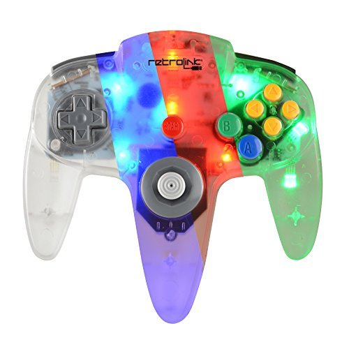 Preisvergleich Produktbild Retro-Link Wired N64 Style USB Controller with Blue/Red/Green LED On-Off Switch and Dimmer, Model: RB-PC-3895, Gadget & Electronics Store