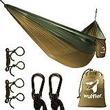 Wulfler Ultraleichte Outdoor Hängematte | Fallschirm Nylon | 200 kg Traglast | inklusive Befestigung 2X Karabiner und 2X Seile | ideal für Reise Strand Trekking Camping Hammock (helloliv/dunkeloliv)