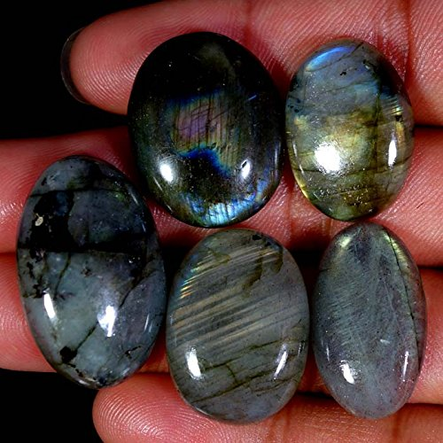 128.00Cts. 100% NATURAL LABRADORITE CABOCHON 05Pcs WHOLESALE LOT GEMSTONES
