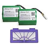 Morpilot Lot de 2 Batterie Neato XV 4000mAh + HEPA filtre Haute capacité Longue durée pour Neato XV-11 XV-12 XV-14 XV-15 XV-21 XV-25 Aspirateur Neato Robotics 205-0001, 945-0004, 945-0005, 945-0006, 945-0024, 945-0065